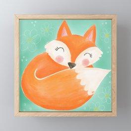 Sweet Sleeping Fox Framed Mini Art Print