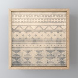 Ethnic geometric pattern with triangles circles shapes and lines Framed Mini Art Print