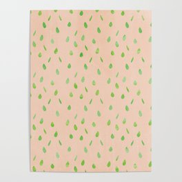 Modern hand painted abstract green mauve pink waterdrops pattern Poster