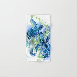 Sea Turtle Turquoise Blue Beach Underwater Scene Green Blue design Hand & Bath Towel
