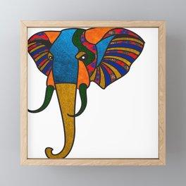 Primary Retro Elephant Framed Mini Art Print