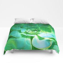 GREEN SUCCULENT Comforters