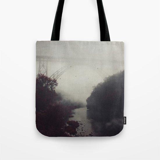 Bridge and River in Fog Tote Bag
