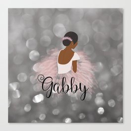African American Ballerina Dancer Personalized Nam GABBY Canvas Print