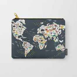 Cartoon animal world map for kids, back to school. Animals from all over the world Carry-All Pouch