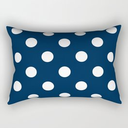 Polka Dots - White on Oxford Blue Rectangular Pillow