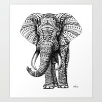 colour Art Prints featuring Ornate Elephant by BIOWORKZ