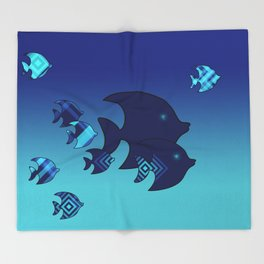 Nine Blue Fish with Patterns Throw Blanket