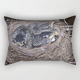 Baby robins in nest (fledglings) Rectangular Pillow