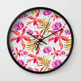 Bold & Bright Colored Tropical Flowers on Silver Trellis Wall Clock