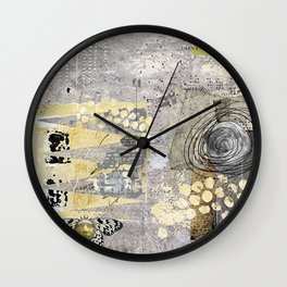 Grey Day Abstract Art Collage Wall Clock