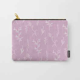 Modern spring pink lavender floral twigs hand drawn pattern Carry-All Pouch