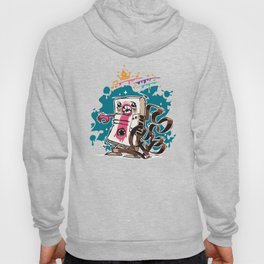 Cartoon Audio Cassette Tape on Dark Background Hoody