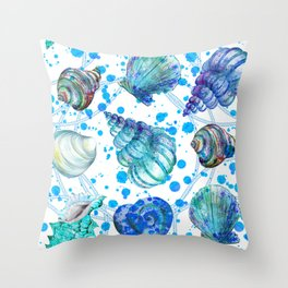 Seamless watercolor marine pattern. Endless texture. Hand draw. Collection of shells on white backgr Throw Pillow