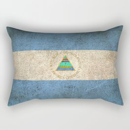 Old and Worn Distressed Vintage Flag of Nicaragua Rectangular Pillow