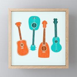 Ukulele ~ Aqua and Orange Framed Mini Art Print