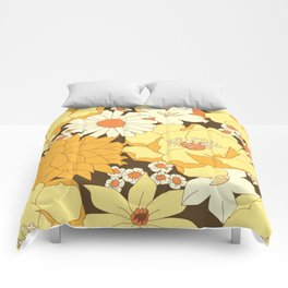Yellow, Orange and Brown Vintage Floral Pattern Comforters