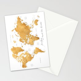 For God so loved the world, world map in gold Stationery Cards