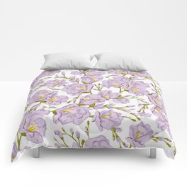 Lilac Freesia. Flowers pattern Comforters