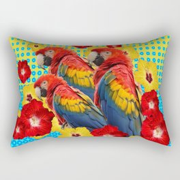 YELLOW-BLUE  FLORAL MACAWS & RED YELLOW HIBISCUS Rectangular Pillow