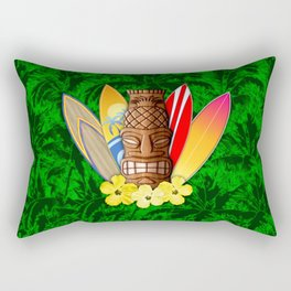 Surfboards And Tiki Mask Palm Trees Rectangular Pillow