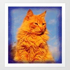 Red cat in the blue Art Print
