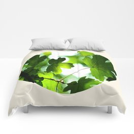 Green Baby Maple Leaves Round Photo Comforters