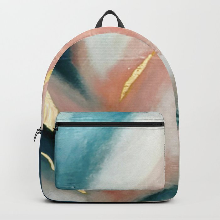 Celestial [3]: a minimal abstract mixed-media piece in Pink, Blue, and gold by Alyssa Hamilton Art Rucksack