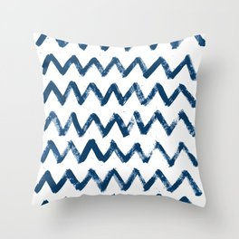 Painted waves pattern in wonderful classic blue colors Throw Pillow