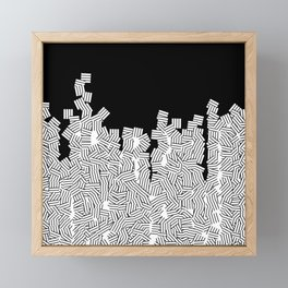 Minimalist black / White geometric Framed Mini Art Print