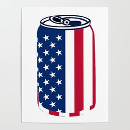 American Beer Can Flag Poster