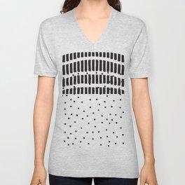 Modern black white  watercolor brushstrokes polka dots Unisex V-Neck