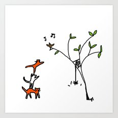 three cats climbing. Art Print
