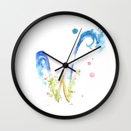 Letter W watercolor - Watercolor Monogram - Watercolor typography - Floral lettering Wall Clock