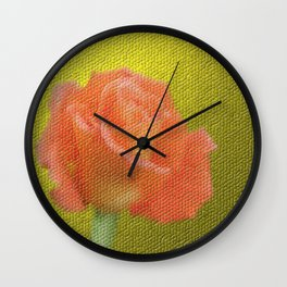gold,single rose bloom in small mosaic on a colored background of small hexagons Wall Clock