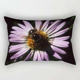 Bee on pink flower Rectangular Pillow