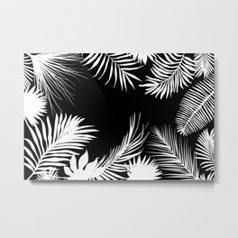 Palm Leaves In Black And White Metal Print