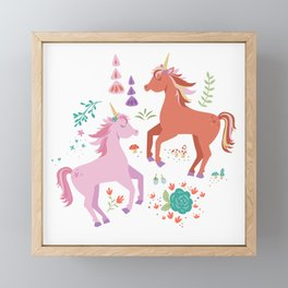 Pink and Coral Unicorns Framed Mini Art Print