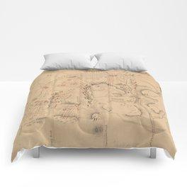 Vintage Map of The Battle of Gettysburg (1864) Comforters