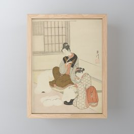 "Evening Snow on a Floss Shaper (Nurioke no bosetsu), from the series ""Eight Views of the Parlor (Zas Framed Mini Art Print"