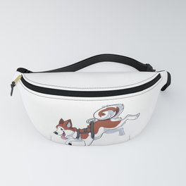 Brown Husky Running Fanny Pack