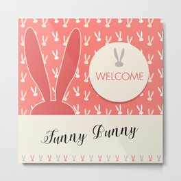 Funny Bunny Pink Decorative Coral Color kid-friendly pattern kids party Metal Print