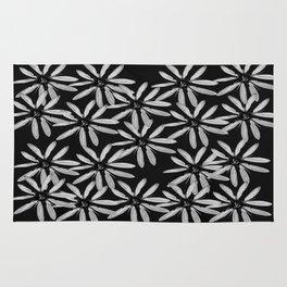 Tiny White Flowers on Black Background #decor #society6 Rug
