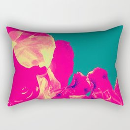 Abstract Roses on Aqua Background Rectangular Pillow