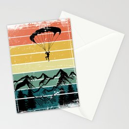 Paragliding Retro Mountains Stationery Cards