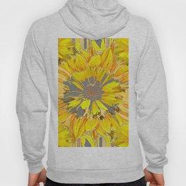 GREY & YELLOW  FLOWER DECO MODERN ART Hoody