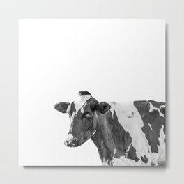 Cow Photography Animal Art   Minimalism black and white   black-and-white   Peek-a-boo Metal Print