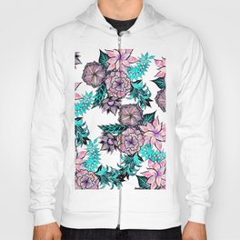 Girly Pink Teal Watercolor Floral Illustrated Pattern Hoody