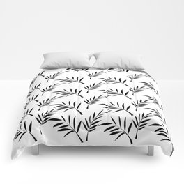 White and Black Leaf Design Comforters