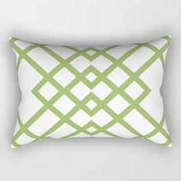 Green Tracery Geometric Pattern Rectangular Pillow